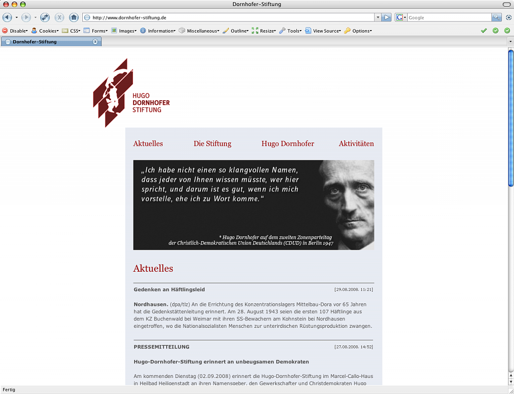 Hugo Dornhofer Stiftung / Website / 2008.