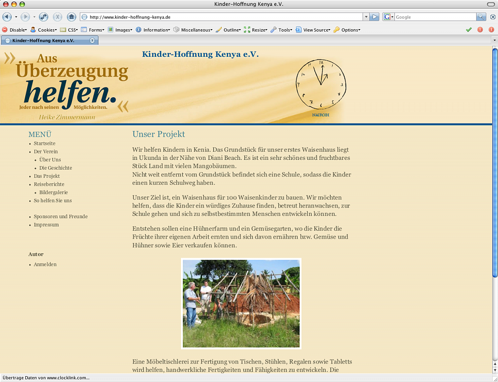 Kinder-Hoffnung Kenya e.V. / Website via CMS / 2008.