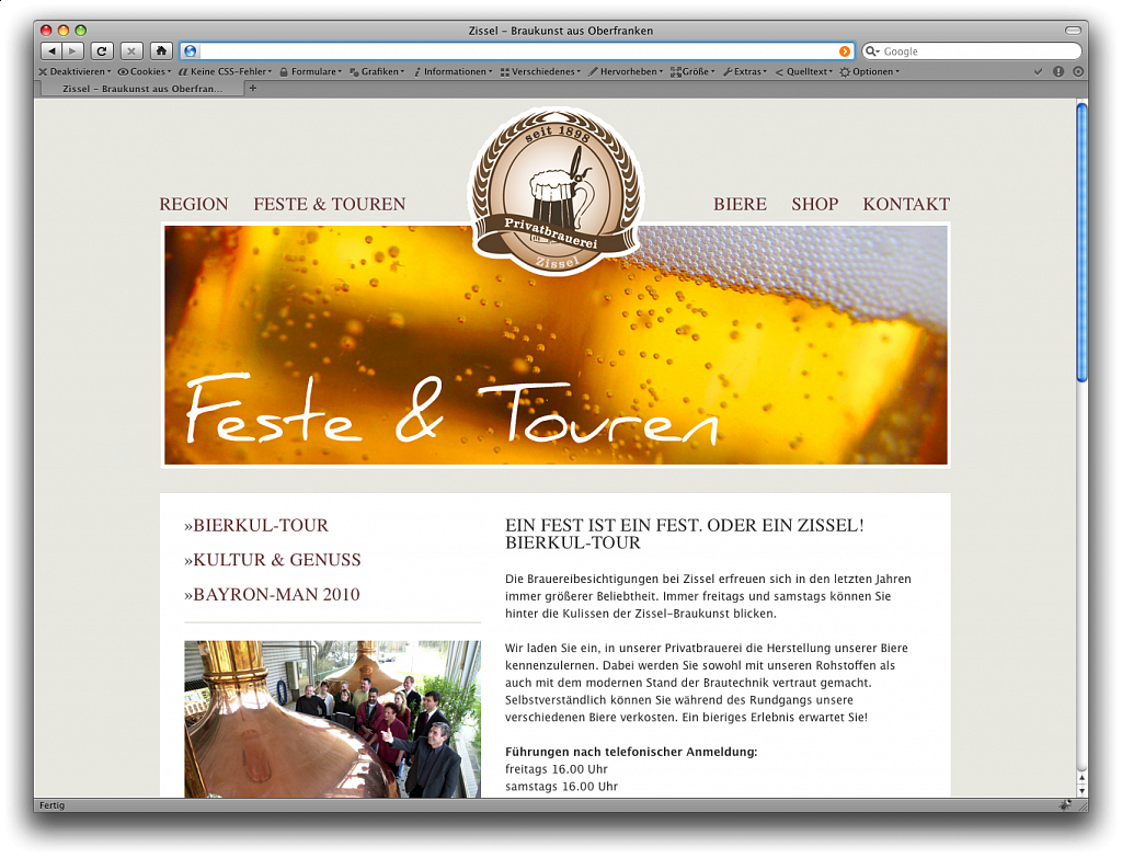 """Privatbrauerei Zissel"" / Website / 2010."