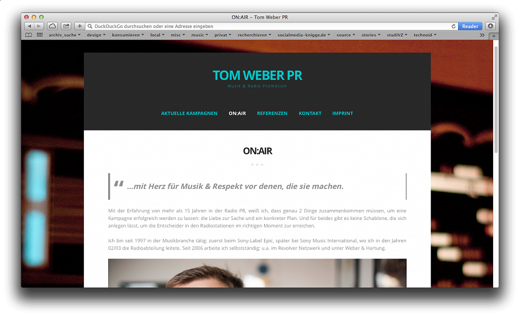 Tom Weber PR – Musik & Radio Promotion / Website via CMS / 2015.