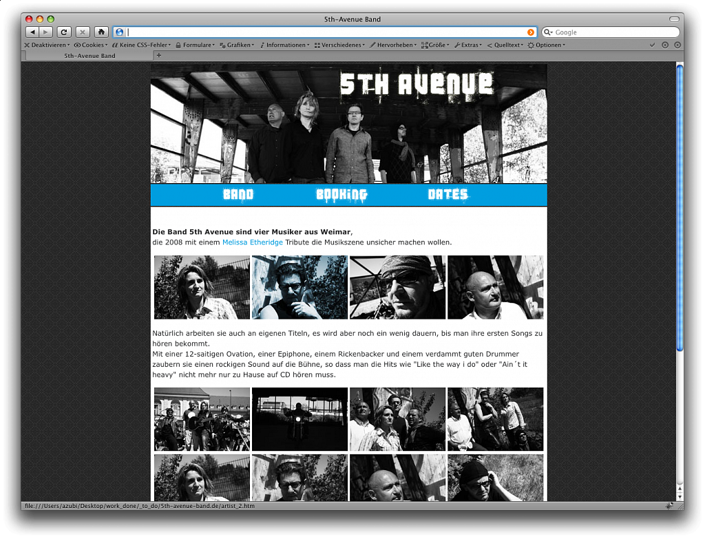 5th Avenue Band / Website / 2008.
